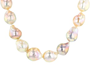 GENUSIS(TM) 12-15MM MULTI-COLOR CULTURED FRESHWATER PEARL RHODIUM OVER SILVER 18 INCH NECKLACE