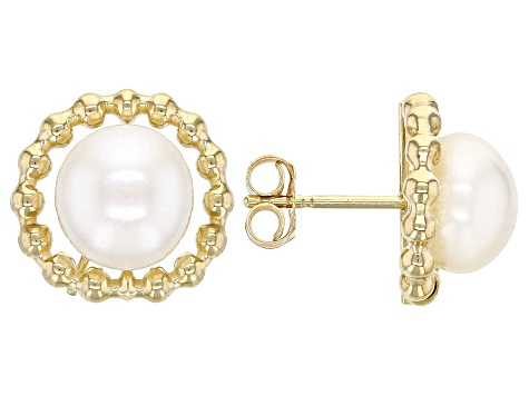 362bdee13 7-7.5MM White Cultured Freshwater Pearl 14K Yellow Gold Beaded Circle  Earrings