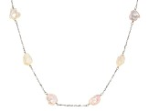 10-14MM Cultured Freshwater Pearl Keshi Rhodium Over Silver Necklace