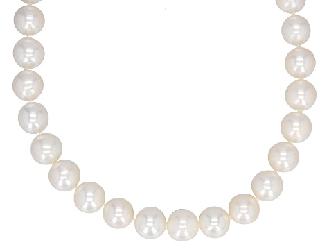 8-8.5MM Cultured White Freshwater Pearl 14k Yellow Gold Strand 18 Inch Necklace