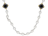 7-8MM White Cultured Freshwater Pearl & Black Onyx Rhodium Over Sterling Silver Strand Necklace