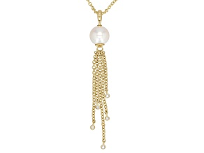 8-8.5MM WHITE CULTURED FRESHWATER PEARL & .03CTW DIAMOND ACCENT TASSEL PENDANT & 18 INCH ROLO CHAIN
