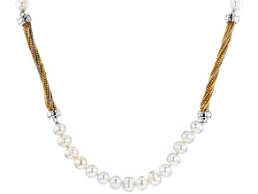 7-8MM WHITE CULTURED FRESHWATER PEARL RHODIUM & 14K ROSE & YELLOW GOLD OVER BRONZE STRAND NECKLACE