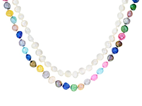 7-8MM White & Multi-Color Cultured Freshwater Pearl Endless Strand Necklace Set Of 2