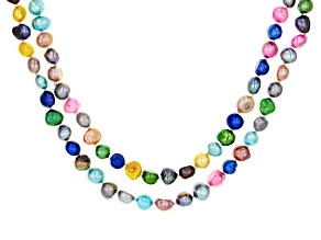 7-8MM Multi-Color Cultured Freshwater Pearl Endless Strand Necklace Set Of 2