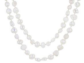 7-8MM White Cultured Freshwater Pearl Strand Necklace Set 24 Inch