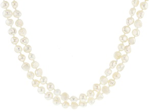 7-8MM White Cultured Freshwater Pearl Endless Strand Necklace Set 60 Inch