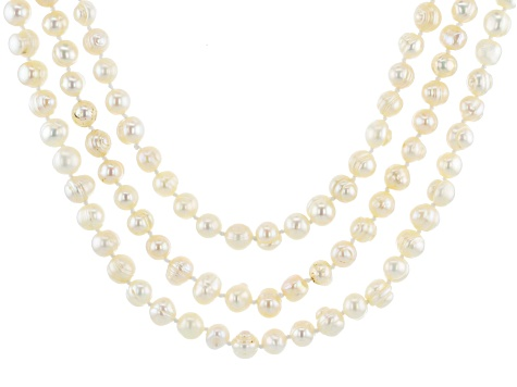 7-8MM White Cultured Freshwater Pearl Strand Necklace Set 24, 30, & 36 Inch