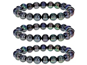 Black Cultured Freshwater Pearl 10-11 Stretch Bracelet Set of 3