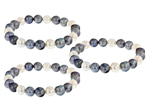 Dark Multi-Color Cultured Freshwater Pearl Stretch Bracelet Set of 3
