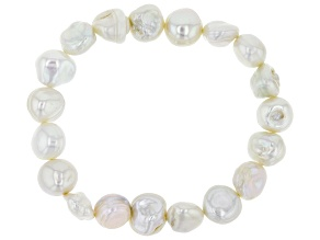 Cultured Keshi Freshwater Pearl Stretch Bracelet 10-11mm