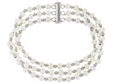 White Cultured Freshwater Pearl 5-6mm Rhodium over Sterling Silver 7.25 Inch Multi-Row Bracelet
