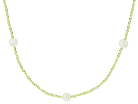 White Cultured Freshwater Pearl 10-11mm & Peridot 42 Inch Endless Necklace