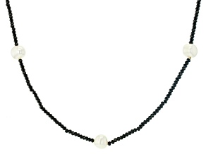 White Cultured Freshwater Pearl 10-11mm & Black Spinel 72 Inch Endless Necklace