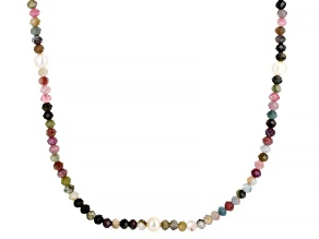 White Cultured Freshwater Pearl & Multi-Color Tourmaline 72 Inch Endless Necklace