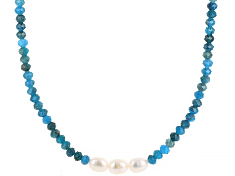 White Cultured Freshwater Pearl 7-8mm & Apatite 72 Inch Endless Necklace