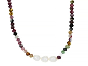 White Cultured Freshwater Pearl & Multi-Color Tourmaline 42 Inch Endless Necklace