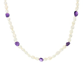 White Cultured Freshwater Pearl 6.5-7.5mm & Amethyst 72 Inch Endless Necklace