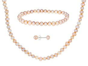 Peach Cultured Freshwater Pearl Sterling Silver 18 Inch Necklace, Bracelet, & Earring Set