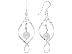 White Cultured Freshwater Pearl Sterling Silver Dangle Earrings
