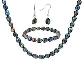 Black Cultured Freshwater Pearl Sterling Silver Necklace, Bracelet, & Earring Set