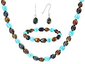 Multi-Color Cultured Freshwater Pearl Sterling Silver Necklace, Bracelet, & Earring Set