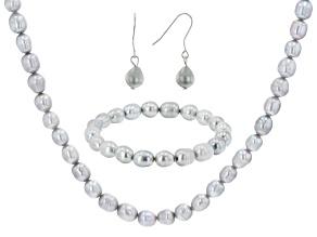 Platinum Cultured Freshwater Pearl Sterling Silver Necklace, Bracelet, & Earring Set
