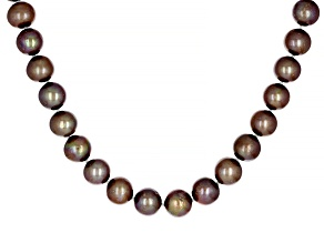 Mahogany Color Cultured Freshwater Pearl Rhodium Over Sterling Silver 18 Inch Strand Necklace