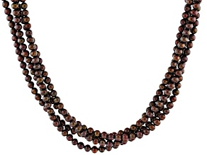 Mahogany Color Cultured Freshwater Pearl 14k Yellow Gold Over Sterling Silver 20 Inch Necklace