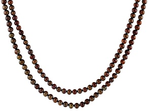 Mahogany Color Cultured Freshwater Pearl 54 Inch Endless Strand Necklace