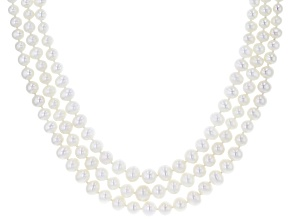 4-7.5mm White Cultured Freshwater Pearl Rhodium Over Silver Multi-Row Graduated Strand Necklace