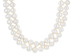 White Cultured Freshwater Pearl Rhodium Over Sterling Silver Double Row Necklace