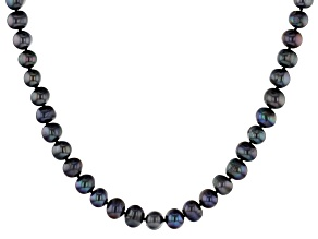 Black Cultured Freshwater Pearl Rhodium Over Sterling Silver 24 Inch Strand Necklace