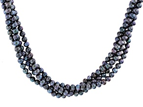 Black Cultured Freshwater Pearl Rhodium Over Sterling Silver Torsade Necklace