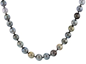 Multi-Color Cultured Tahitian Pearl 8-10mm Rhodium Over Sterling Silver 18 Inch Strand Necklace