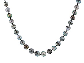 Multi-Color Cultured Tahitian Pearl 9-11mm Rhodium Over Sterling Silver 18 Inch Strand Necklace