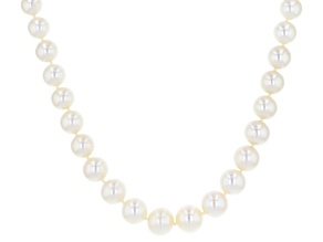White Cultured Freshwater Pearl 14k Yellow Gold 18 Inch Graduated Strand Necklace