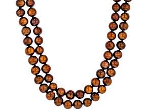 Mahogany Color Cultured Freshwater Pearl Rhodium Over Sterling Silver Double Row Necklace