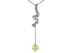 Golden Cultured South Sea Pearl & Topaz Rhodium Over Sterling Silver Pendant With Chain