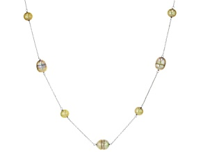 Multi-Pistachio Green Cultured Freshwater Pearl Rhodium Over Sterling Silver Station Necklace