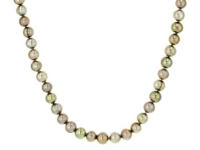 Multi-Pistachio Green Cultured Freshwater Pearl Rhodium Over Sterling Silver 18 Inch Necklace