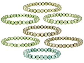 Multi-Green Cultured Freshwater Pearl Stretch Bracelet Set of 7