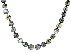 Multi-Color Cultured Tahitian Pearl Rhodium Over Sterling Silver 17.5 Inch Strand Necklace
