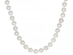 White Cultured Japanese Akoya 14k Yellow Gold 18 Inch Necklace