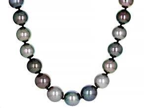 Silver Cultured Tahitian Pearl 14k White Gold 17.5 Inch Necklace