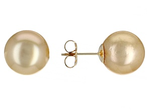 Golden Cultured South Sea Pearl 14k Yellow Gold Stud Earrings