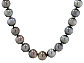 Cultured Tahitian Pearl Rhodium Over 14k White Gold 17.5 Inch Necklace