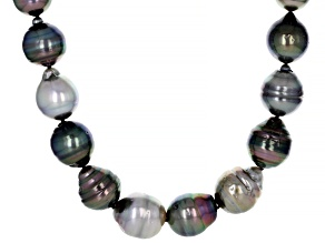 Cultured Multi-Color Tahitian Pearl Rhodium Over Sterling Silver 18 Inch Strand Necklace