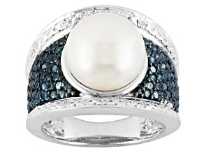 White Cultured Freshwater Pearl Blue And White Diamond Silver Ring