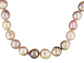 Baroque Cultured Freshwater Pearl Rhodium Over Silver Necklace